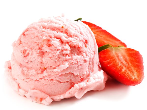 Strawberry is ice cream sage scoop
